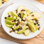 Caramel Apple Nachos with chocolate chips, pecans, and coconut.