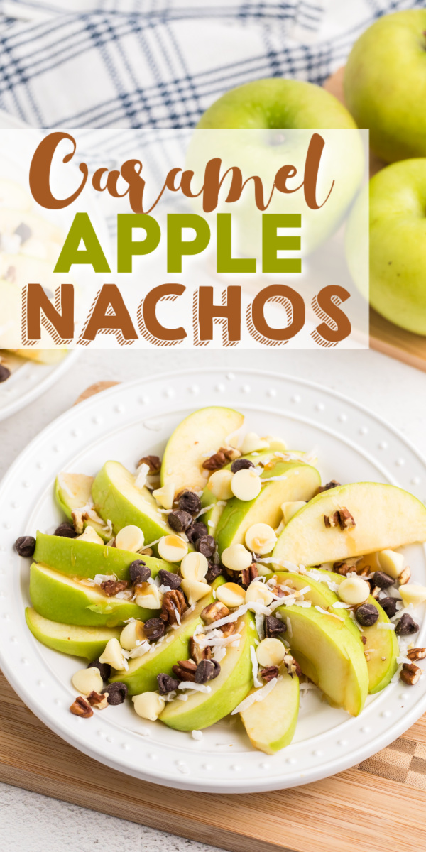 These delicious caramel apple nachos are made with sliced granny smith apples, coconut, chocolate chips, and drizzled with caramel sauce.