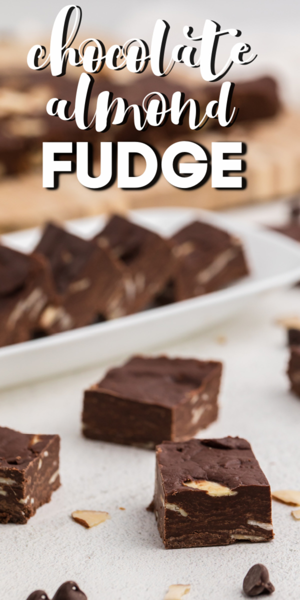 This delicious Chocolate Almond Fudge is the perfect easy candy to make during the holidays, or just because!