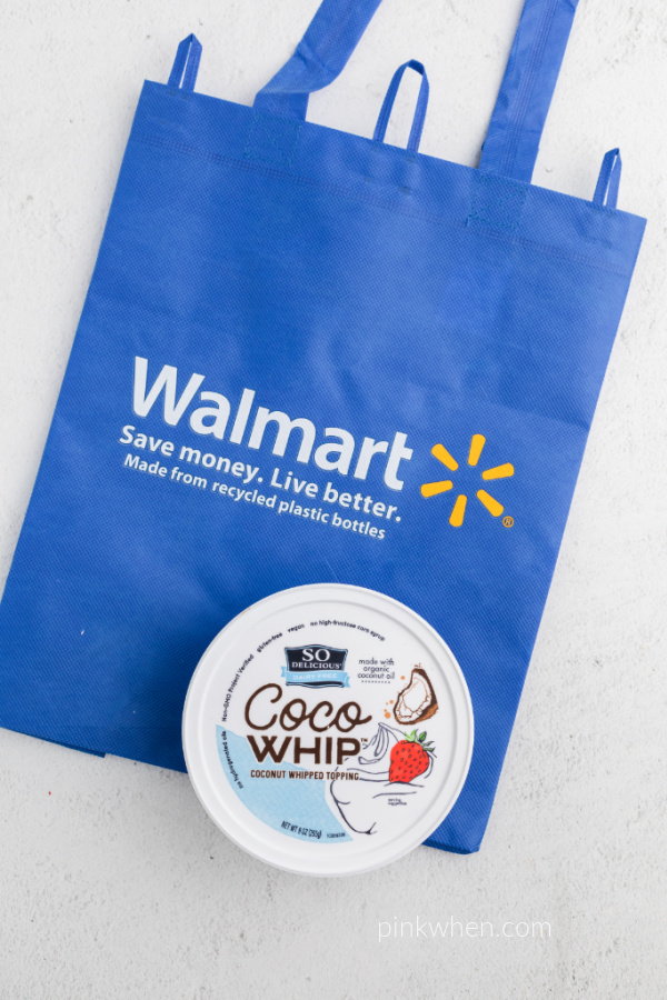 CoCOWhip with a Walmart bag on a white table.