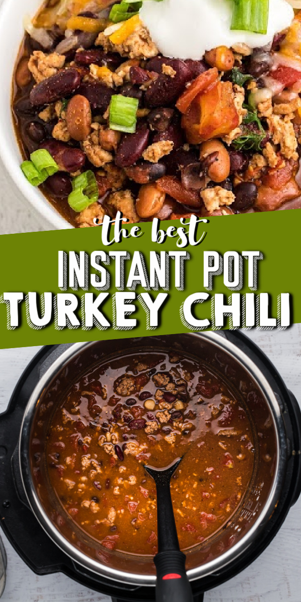 Instant Pot Turkey Chili is a hearty, delicious chili recipe made in the pressure cooker. Made with ground turkey, vegetables, and the perfect blend of seasonings. My husband has now labeled this his favorite chili recipe, you have to try it!