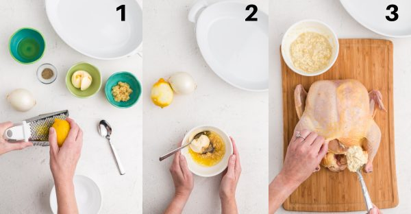 Picture collage of step by step instructions for preparing chicken.