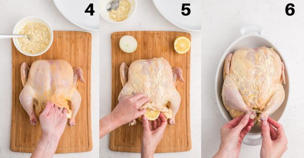 Steps of process to make the slow roasted chicken.