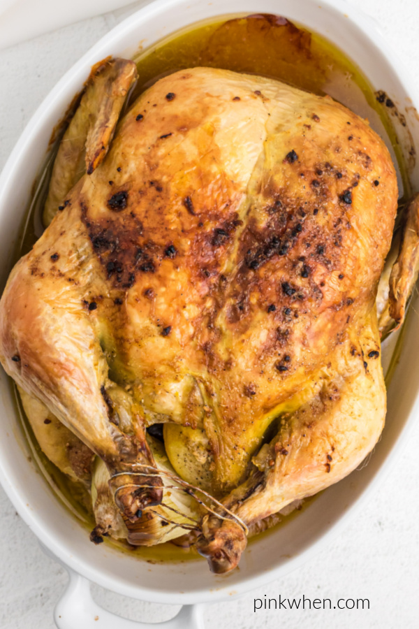 Roasted chicken ready to serve.