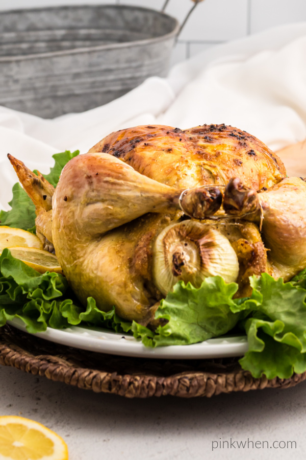 Honey Garlic slow roasted Italian chicken on a bed of lettuce ready to serve.