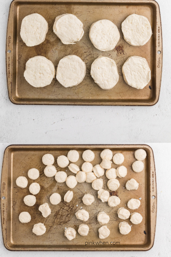 collage of photos showing biscuits on a cookie sheet and biscuit holes on a cookie sheet.