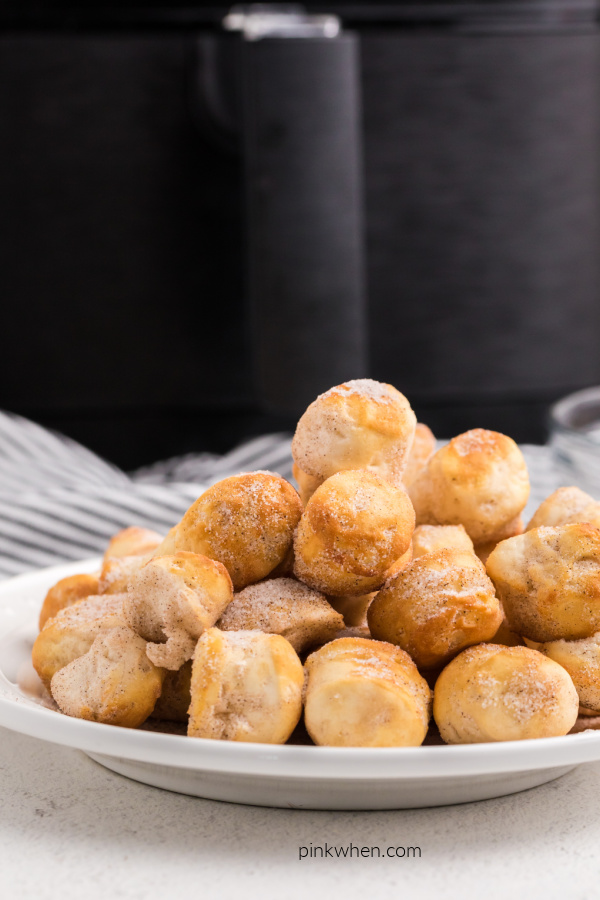 Donut holes on a plate in front of an Air Fryer.