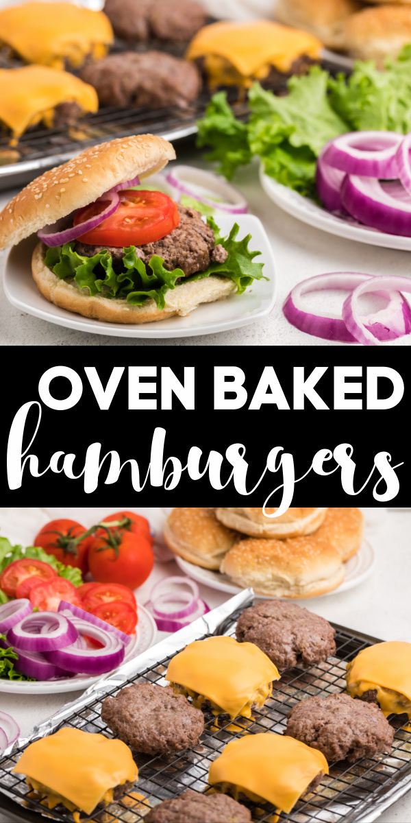 These oven baked hamburgers are a perfect rainy day recipe. If you want to make hamburgers but have to skip grilling, this is the perfect recipe. You can have these oven baked hamburgers done in less than 30 minutes from start to finish. A perfect weeknight recipe or for the lazy weekend.