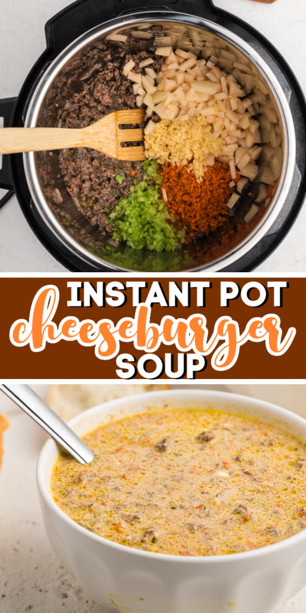 Instant Pot Cheeseburger Soup is a hearty dish made in the pressure cooker. Made with ground beef, potato, cheese, onion, celery, seasonings, and more. It's a delicious diner you'll want to make again and again.