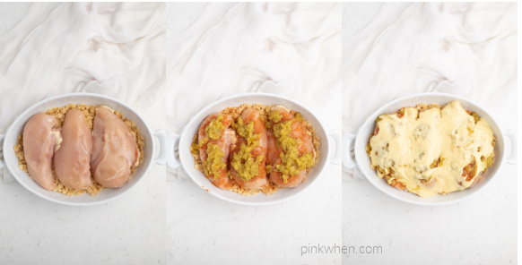 Collage of photos showing the steps of placing the chicken breasts onto the crushed tortilla chips, covering them with green chilies, and then topping the chicken mixture with cream of chicken soup.