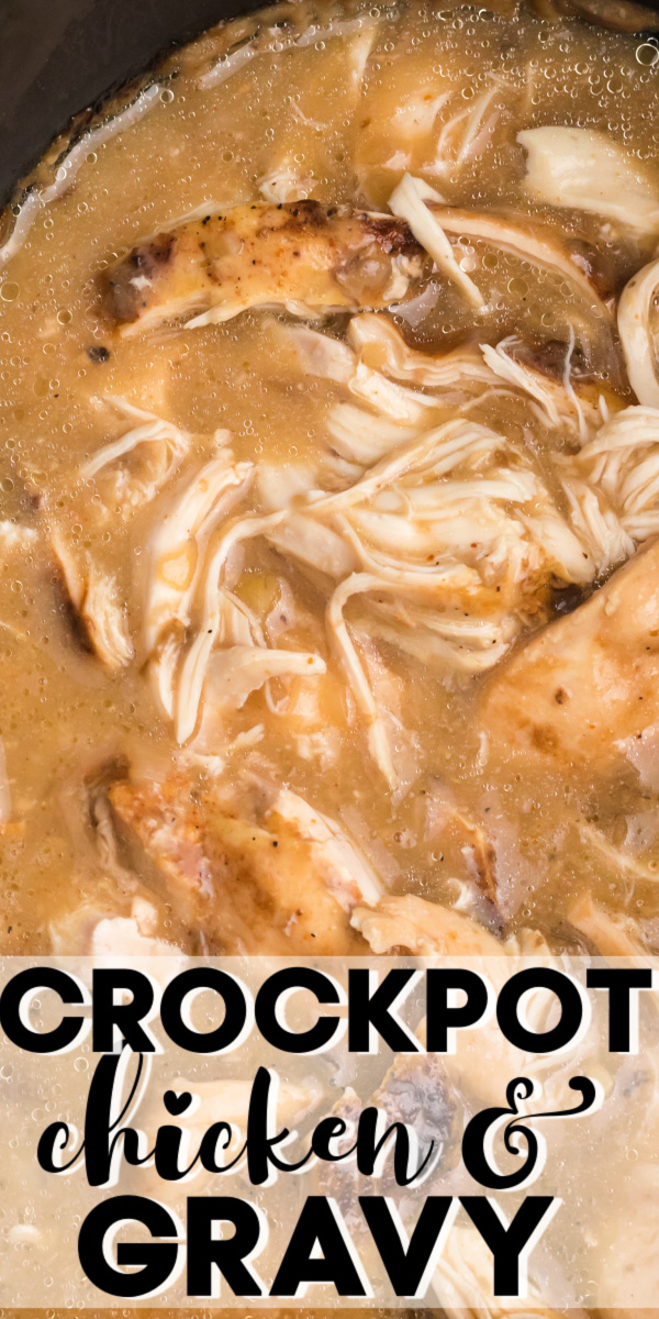 This simple Crockpot Chicken and Gravy is easy with just 4 simple ingredients. You'll love how easy this dinner is and how good it tastes! Serve it over rice, egg noodles, and with mashed potatoes. It's also a great recipe for leftovers.
