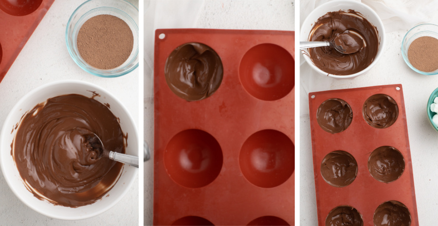 Steps for making hot cocoa bombs. Melted chocolate in a white bowl. Chocolate placed into one piece of the mold, and finally the mold fully of chocolate.
