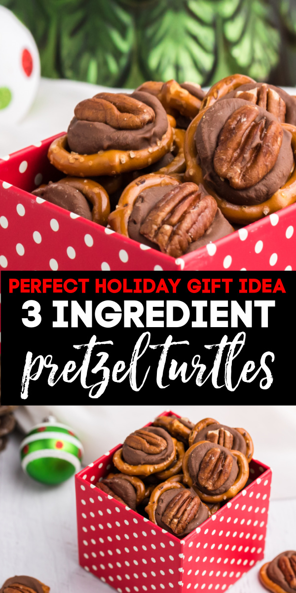 Pretzel Turtles are a quick and easy gift that's perfect for the holidays. Made with mini pretzels, Rolo candy, and pecan halves. Your friends and family will love snacking on them.