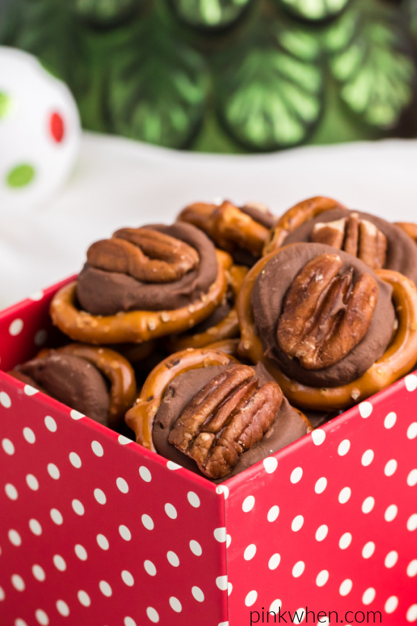 Rolo pretzel turtles in a red box with white dots.