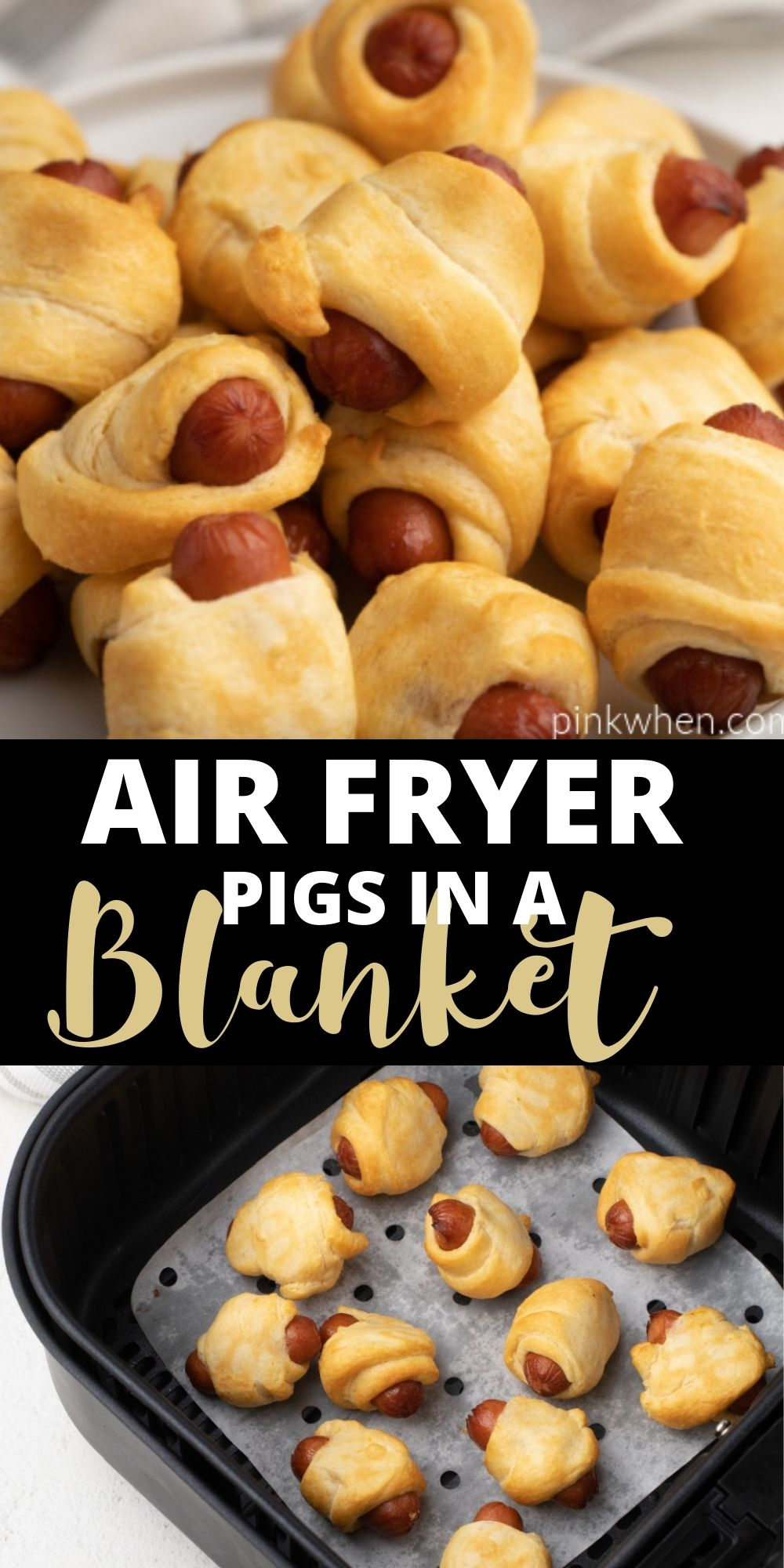 Pigs in a Blanket are made quick and easy in the Air Fryer! This easy appetizer uses crescent rolls and cocktail sausages for a delicious snack that can be made in just 10 minutes! An easy recipe the whole family will love.