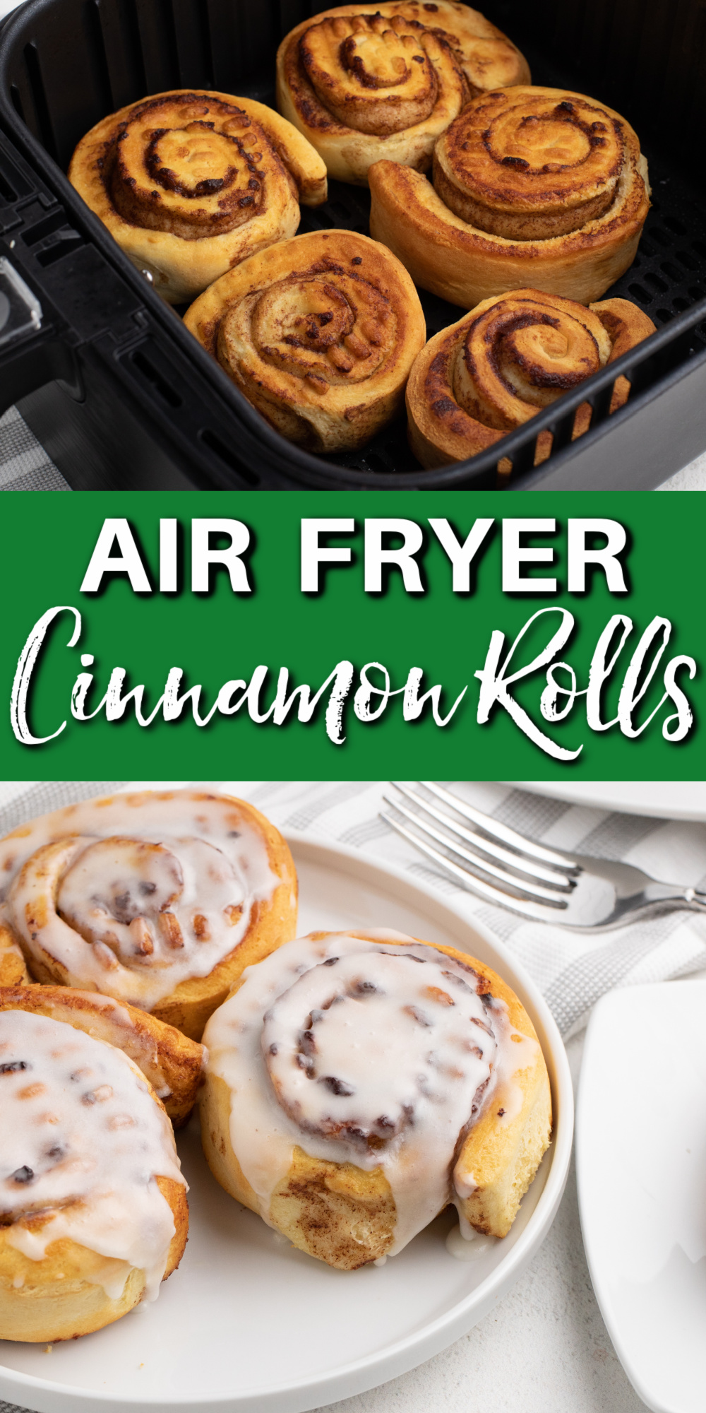 These Easy Air Fryer Cinnamon Rolls are made with Pillsbury Cinnamon Rolls and are a quick and easy breakfast made in the Air Fryer. You'll have breakfast on the table in less than 10 minutes with this easy Air Fryer recipe.