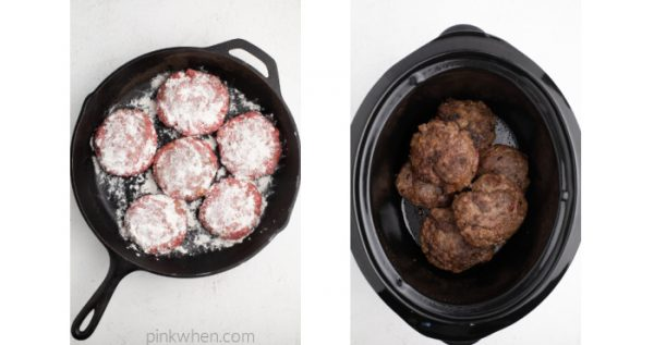 Beef patties in a skillet dredged with flour, and browned beef patties in the liner of the crock pot.