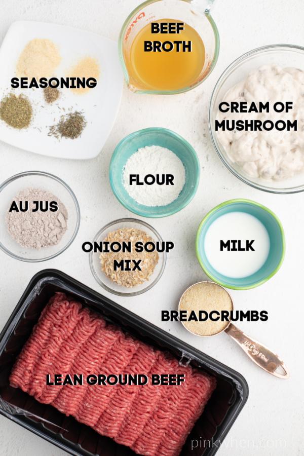 Ingredients needed to make Slow Cooker Salisbury Steak.