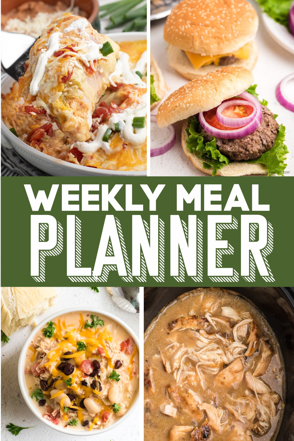 Weekly meal planner collage photo with pictures of dinner and the written text