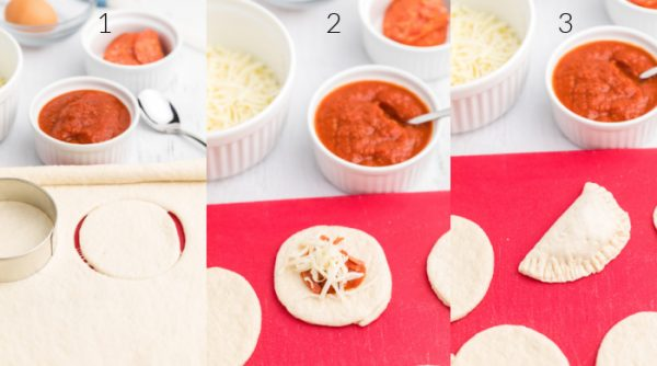 a collage of photos showing the steps of cutting the pizza dough, topping the dough with pizza sauce and added ingredients, and folded on the cutting board.