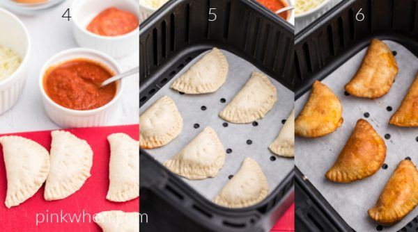 collage of photos showing homemade pizza rolls on a cutting board, in the air fryer basket before being cooked, and after being cooked in the air fryer basket.