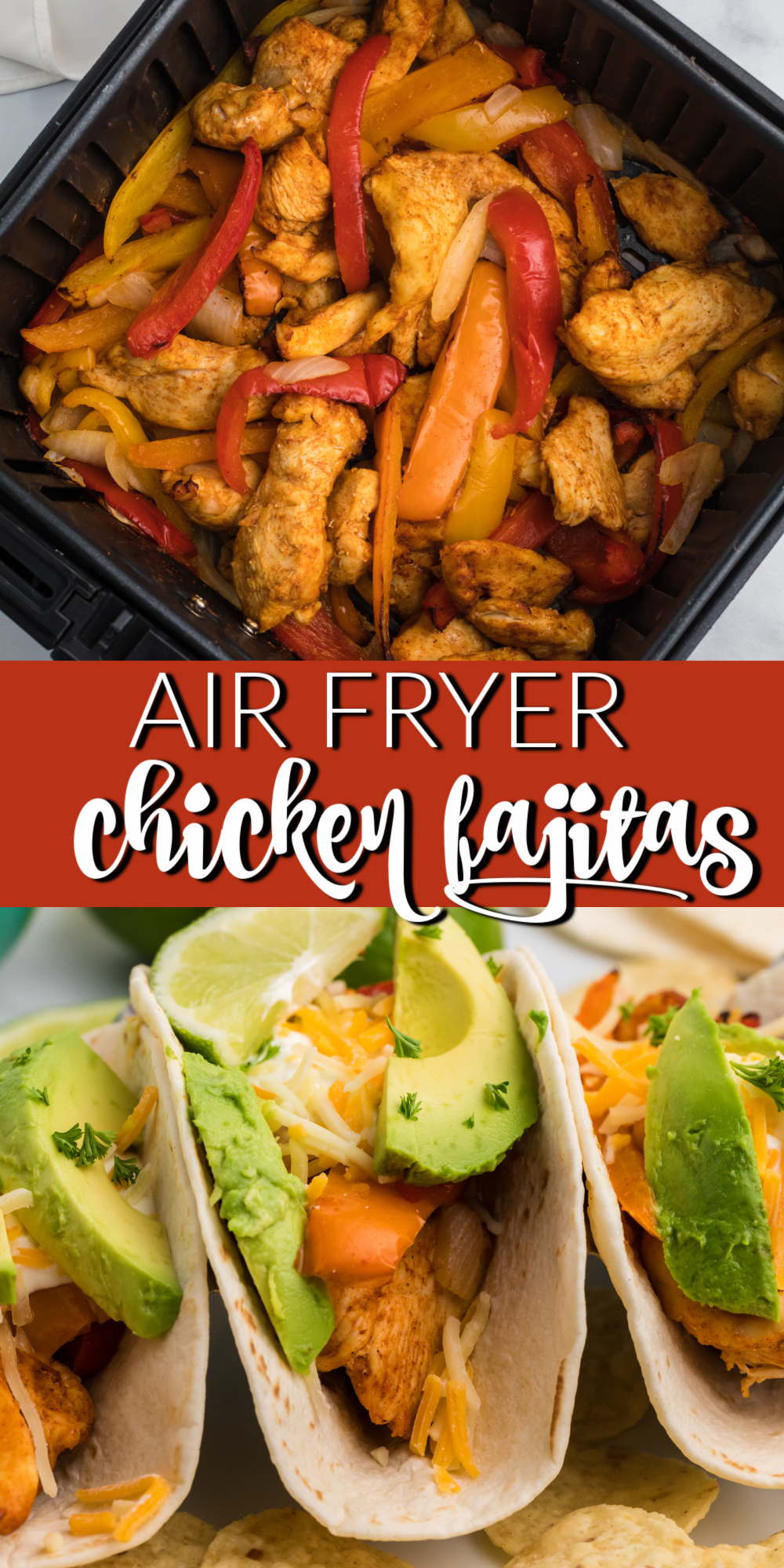 Air Fryer Chicken Fajitas are one of my new favorite ways to make fajitas. Made with chicken breasts, bell peppers, onions, and more. You won't believe just how quick and easy this meal is to make!