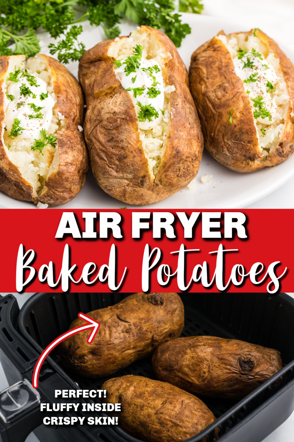 Air Fryer Baked Potatoes are done perfectly in the Air Fryer in just 40-45 minutes. All you'll need to finish these off is your favorite toppings! Check out how easy it is to make the best baked potatoes with perfectly crispy skin on the outside and delicious, soft, fluffy insides. It's an easy classic side dish that can also make a delicious main course.
