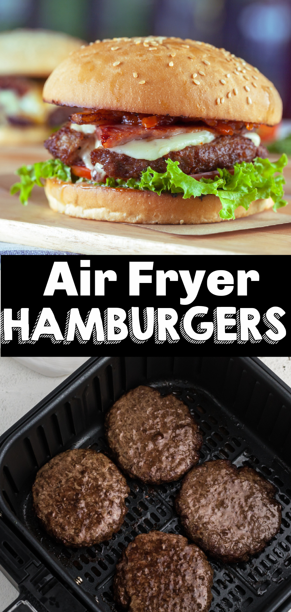 Air Fryer burgers are one of my favorite quick and easy ways to make lunch or dinner. You'll have the best hamburgers done from start to finish before you would even have time to light your grill! Learn how to make fresh hamburgers, frozen hamburgers, and turkey burgers with this easy Air Fryer Hamburger recipe.