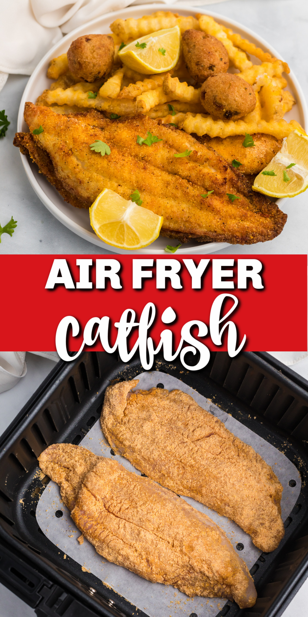 Air Fryer Catfish is made with just a few ingredients and is crazy delicious! It's quick, easy, delicious, and crispy! You'll love that it's super fast and not deep fried. It's an easy Air Fryer dinner recipe.