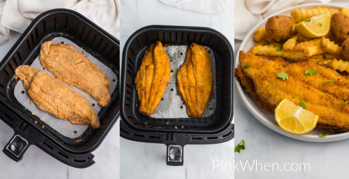 Collage of photos showing breaded catfish before cooking, breaded catfish after cooking, and catfish with fries and hushpuppies on a white plate.