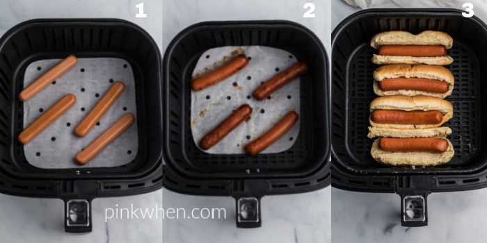 Collage of photos of hot dogs being made in the Air Fryer in steps: uncooked hotdogs in the basket, cooked hotdogs in the basket, and hotdogs in the basket in buns.