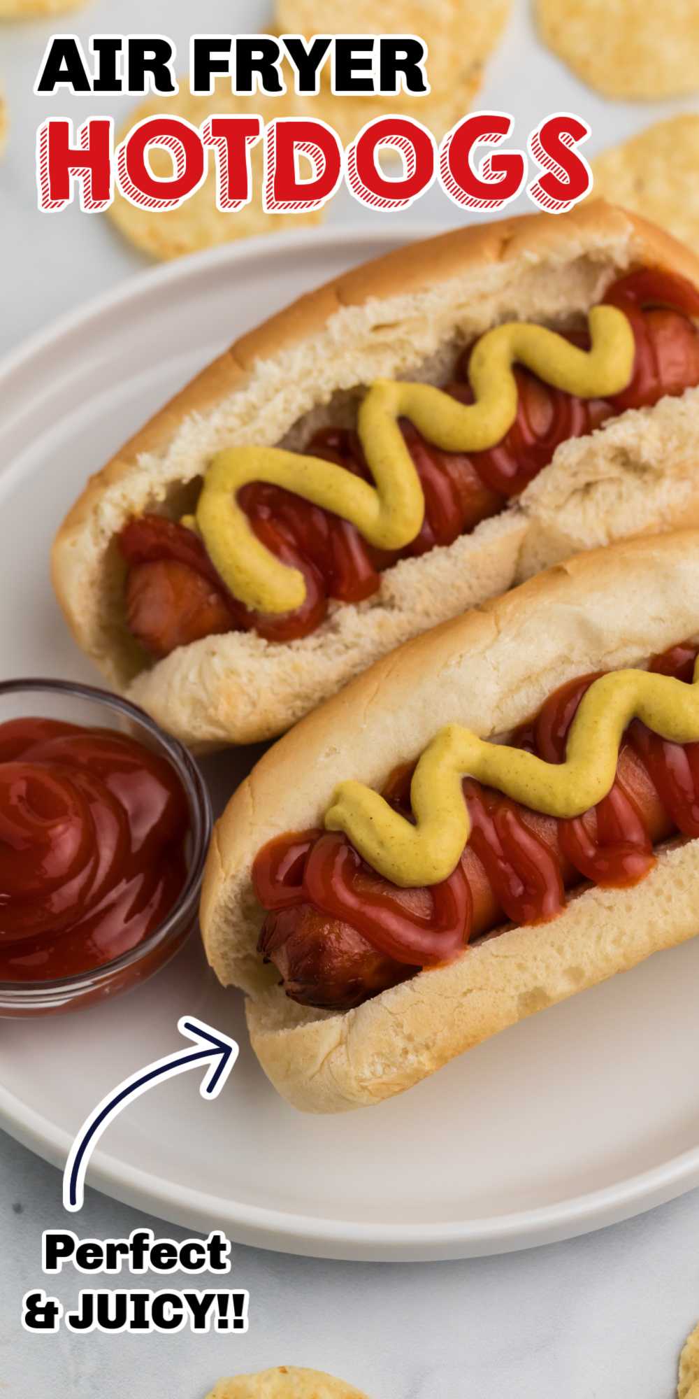 If you haven't made hot dogs in the Air Fryer you are totally missing out! No more boiling water, heating up the grill or throwing them in the microwave only to have them explode. Air Fryer Hot Dogs take just a few minutes and you will love the juicy hot dog that's made with ease.