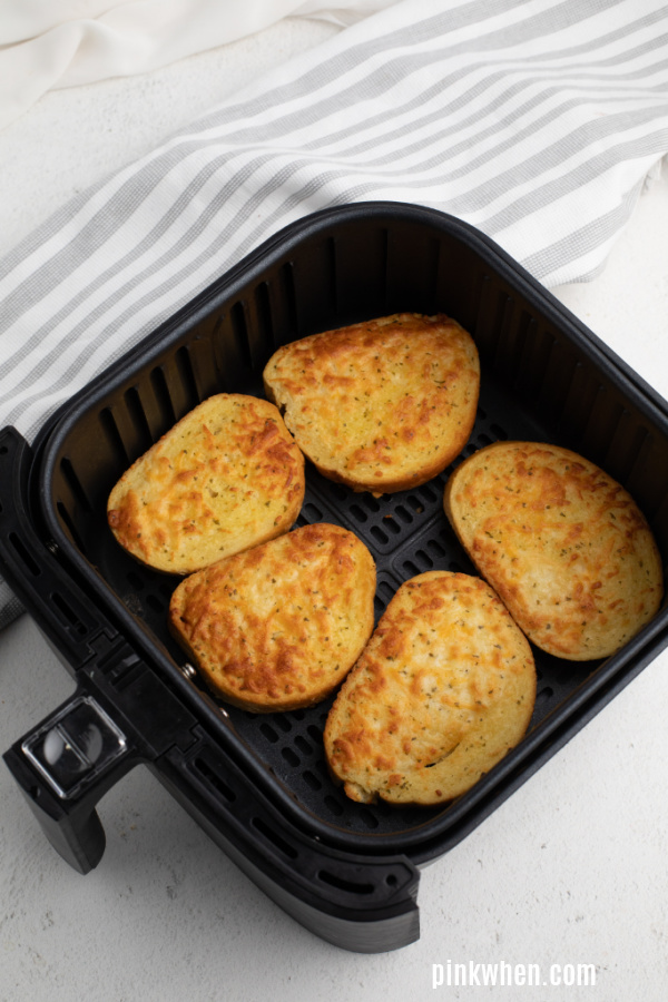 Texas Cheese Toast in the air fryer basket.