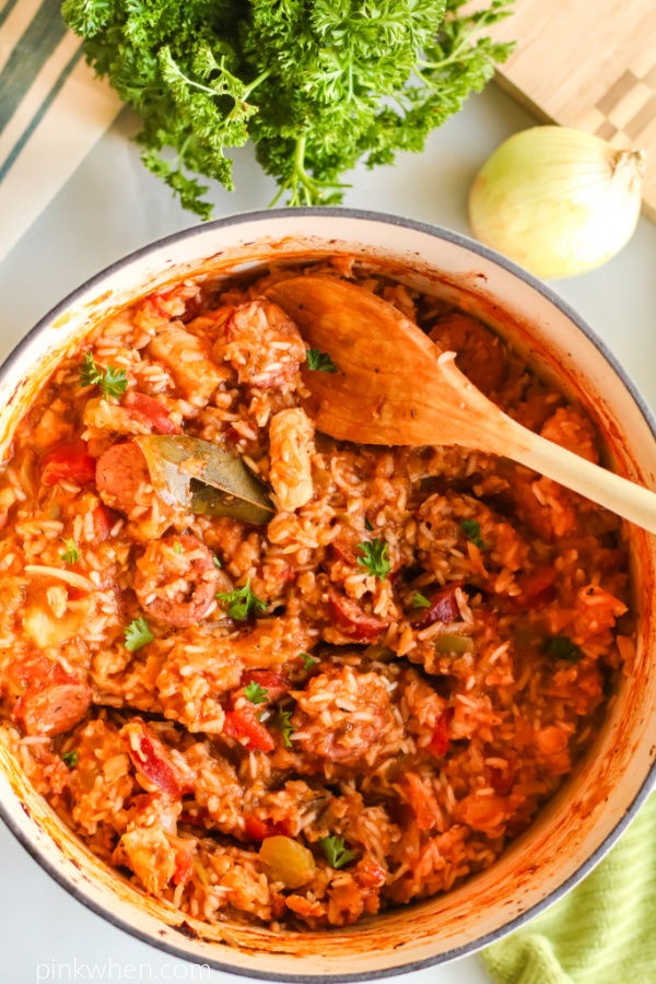 Chicken jambalaya in a large dutch oven and ready to serve.