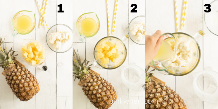 Steps of the process to make Pineapple Dole Whip.