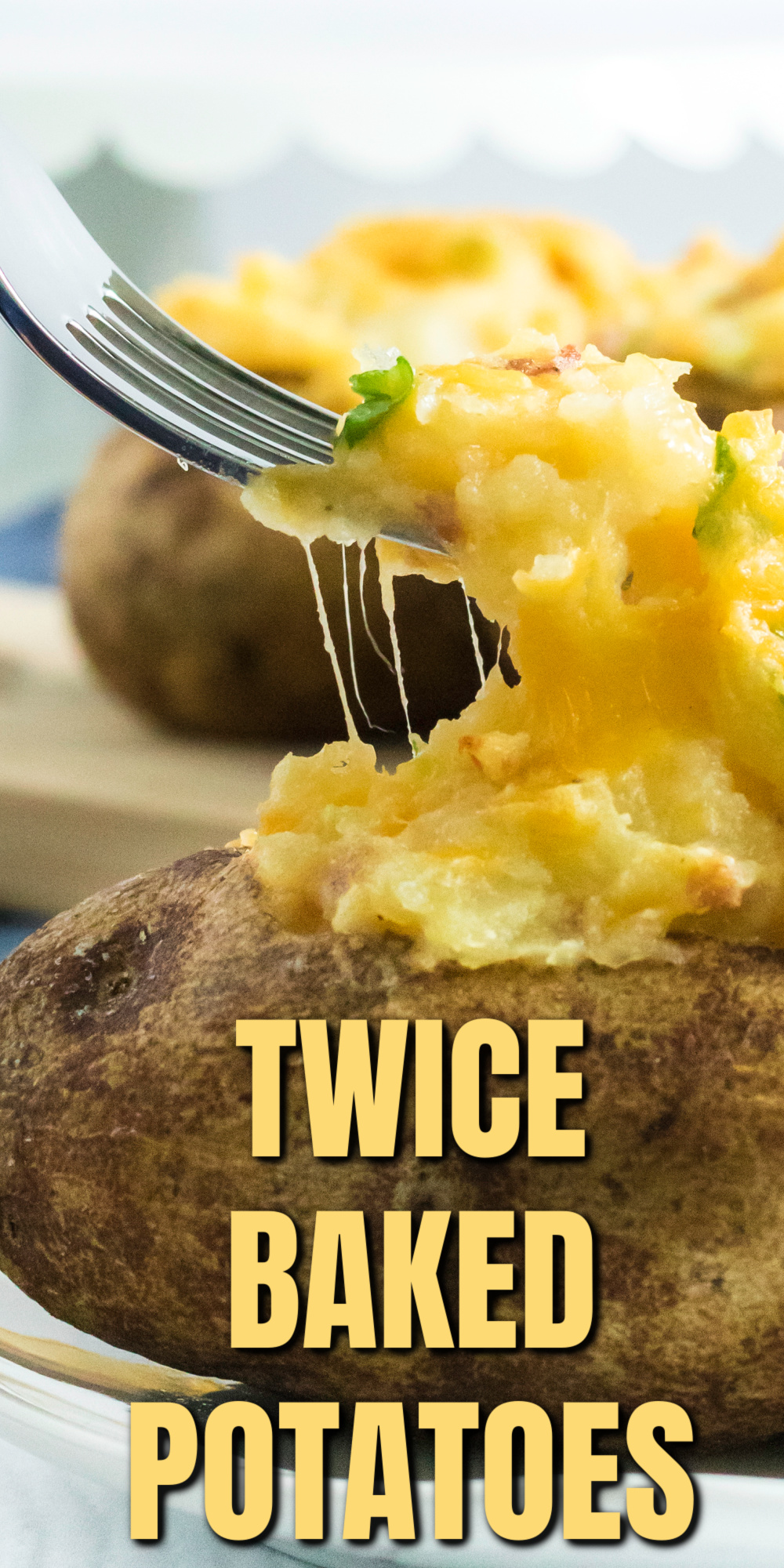 Twice Baked Potatoes are the perfect side dish or main dish and delicious comfort food. Made with russet potatoes, milk, egg, cheese, green onion, seasonings, and more. It's an easy family favorite potato recipe that never gets old.