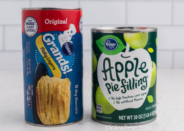 Ingredients needed to make apple pie bombs in the air fryer.