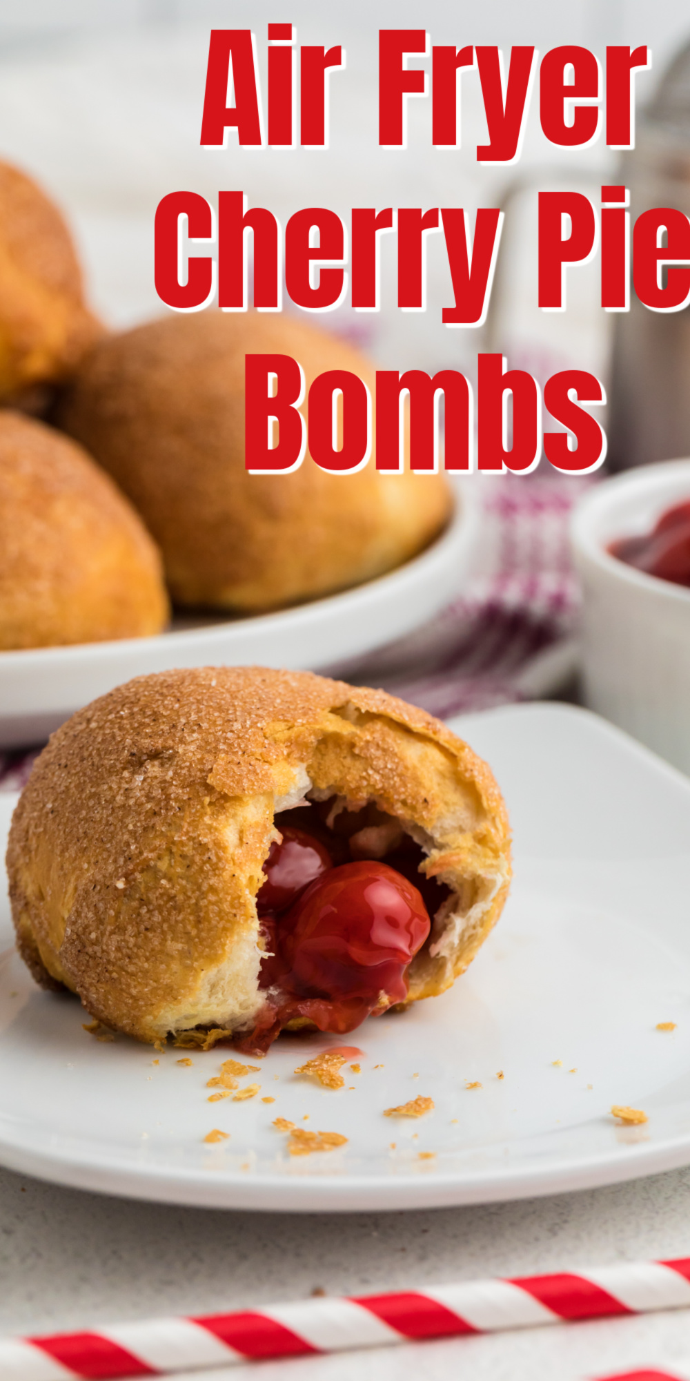 Made with just four easy ingredients, these Air Fryer Cherry Pie Bombs are simple and amazing! A few minutes of prep work is all you need! It's an easy air fryer dessert that the whole family enjoys.