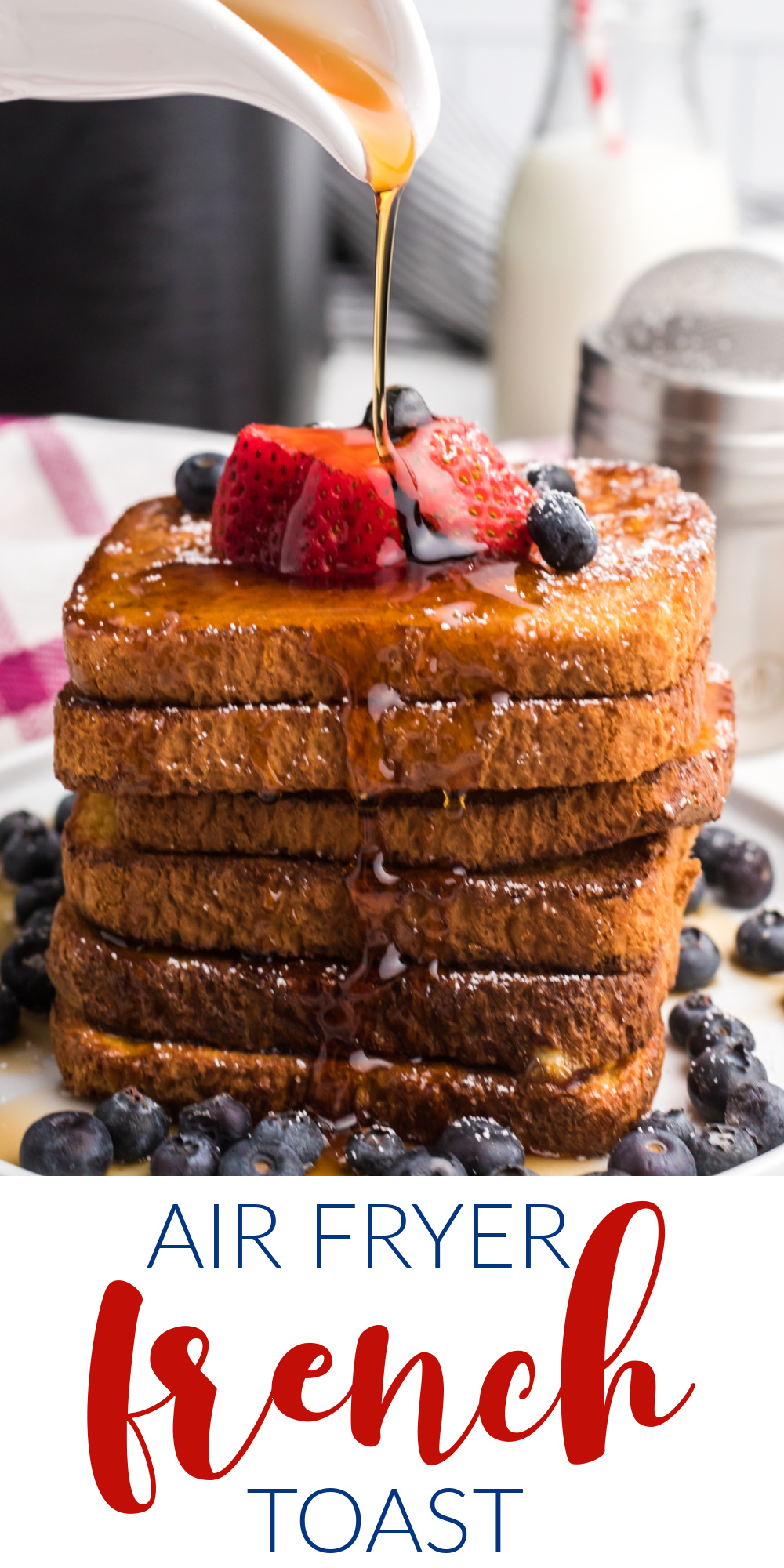 This Air Fryer French Toast recipe is one of my favorite easy recipes to make with the air fryer. You'll love how quick and hands-off this delicious breakfast dish is! Made with bread, milk, egg, sugar, and cinnamon. It's an easy air fryer breakfast recipe that everyone loves.