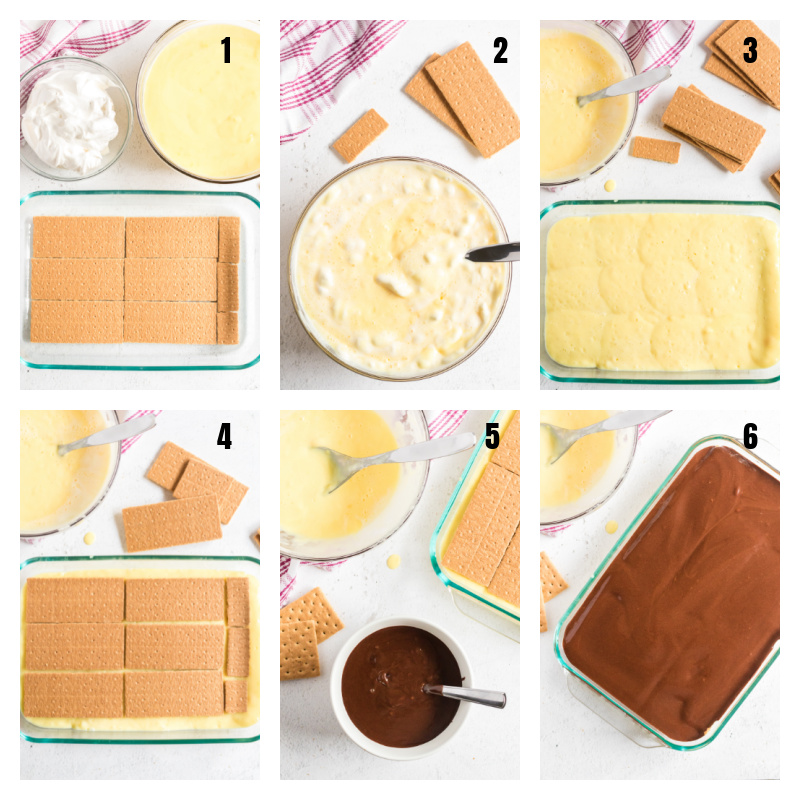 Collage of steps on how to make a no bake chocolate eclair cake.