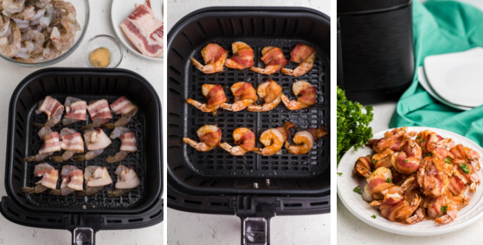 Process shots of make air fryer bacon wrapped shrimp.