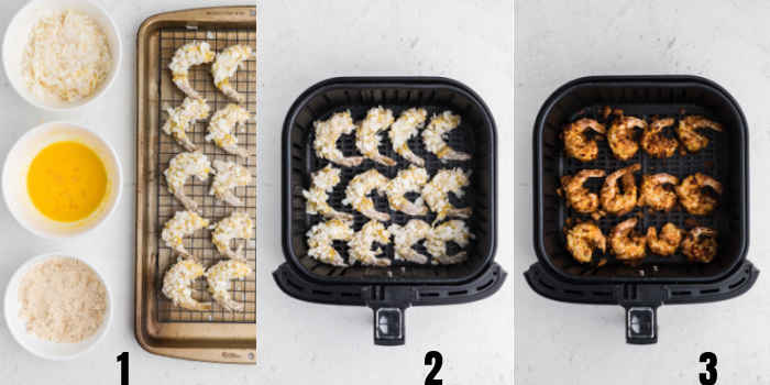 Process steps to make coconut shrimp in the air fryer.
