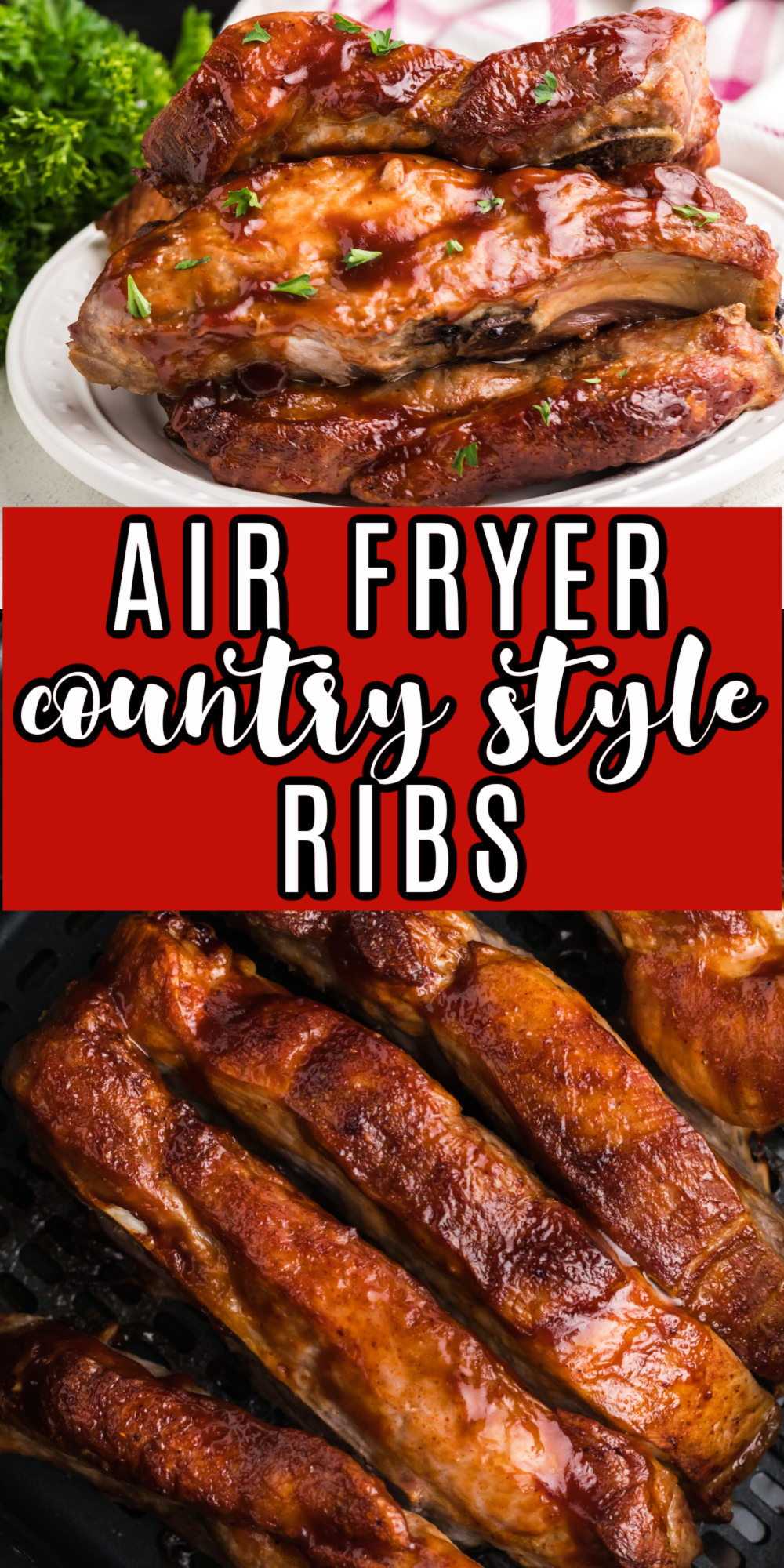 These Air Fryer Country Style Ribs are full of tender, juicy, flavors. You won't believe how fast this dish comes together. Made with thick, country-style ribs, light seasoning, and your favorite bbq sauce.