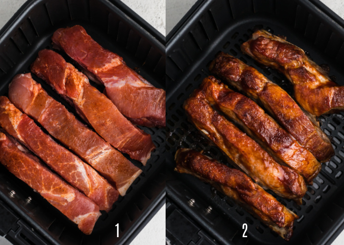 Country style ribs on the air fryer basket precooked, and once fully cooked.
