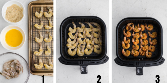 Keto Fried Shrimp step by step photos from start to finish.