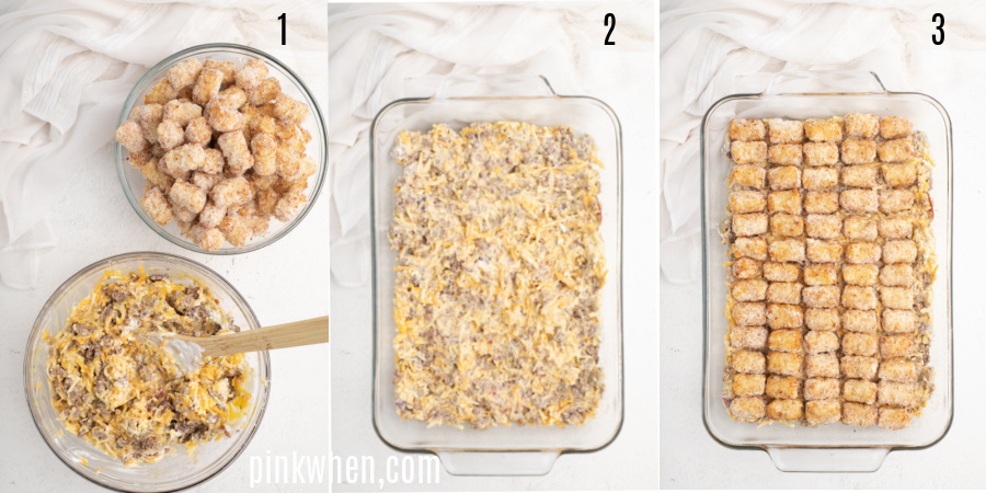 Process of steps to make bacon cheeseburger tater tot casserole before baking it in the oven.