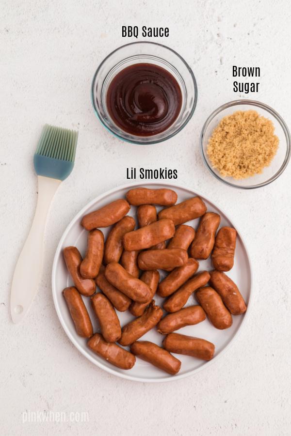 Ingredients needed to make air fryer bbq lil smokies.