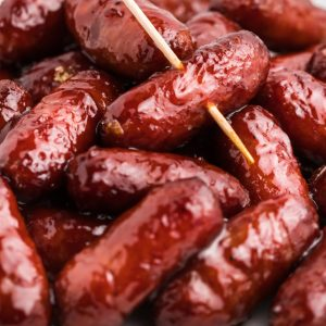 Close up of Air Fried Lil Smokies with BBQ sauce.