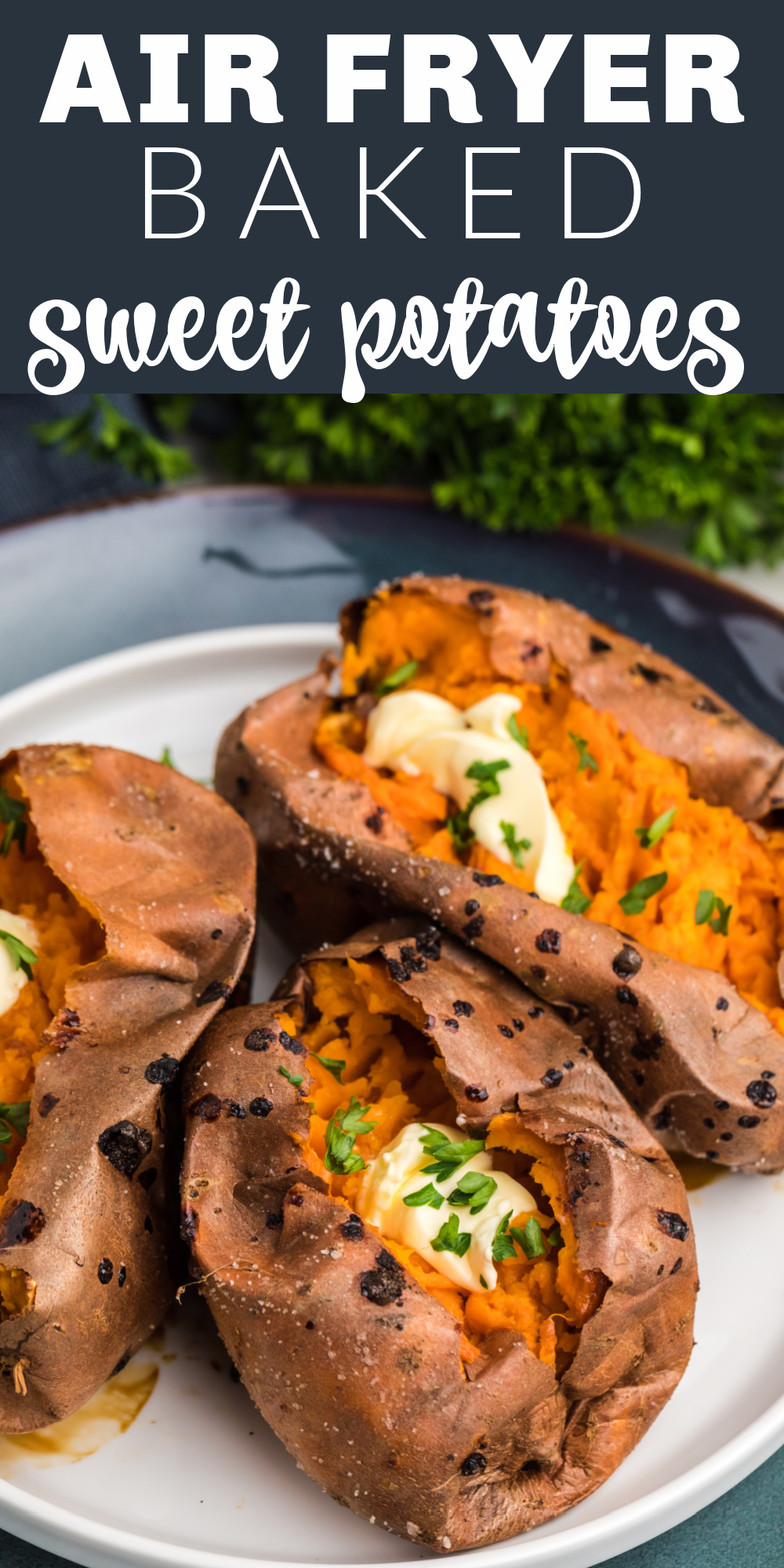 Air Fryer Baked Sweet Potatoes are my new favorite way to make sweet potatoes. You'll get deliciously crispy skin and perfect fluffy potato on the inside. Only 3 ingredients for the best sweet potatoes you'll ever taste.