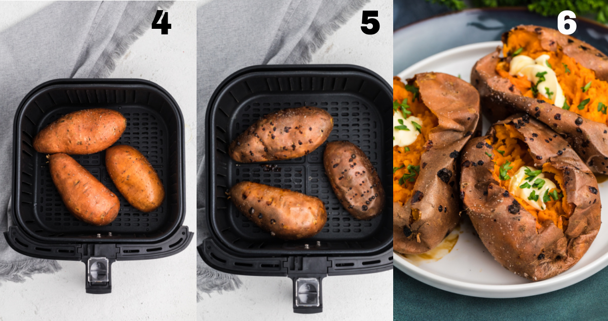 process shots of sweet potatoes in the air fryer basket, and after they have been cooked in the air fryer.